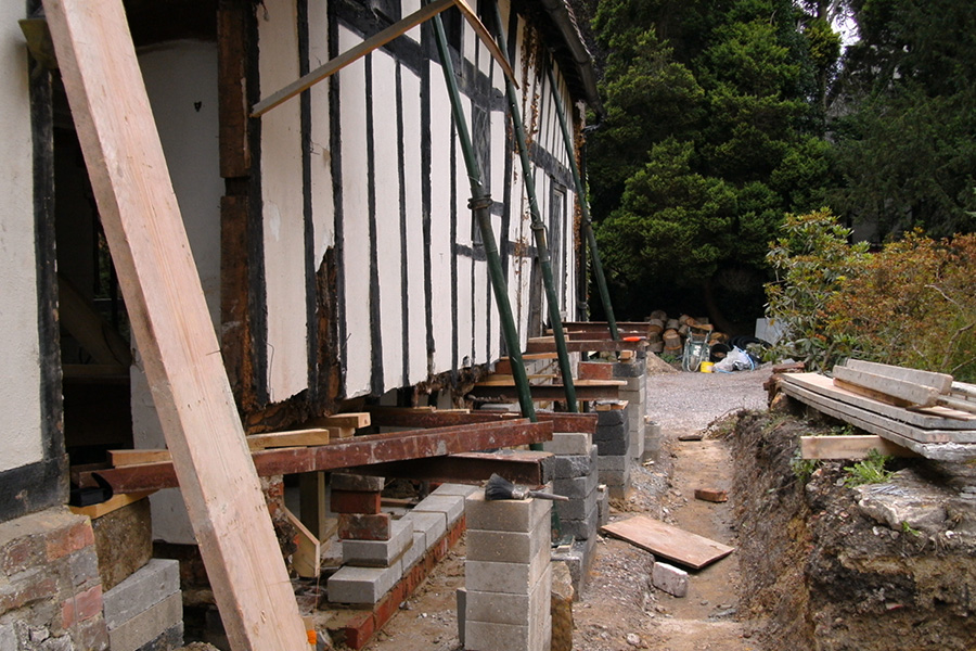 Structural work underpinning the Oast