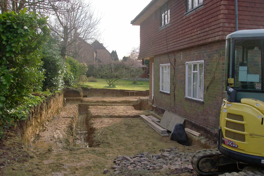 Groundworks to the side of the house